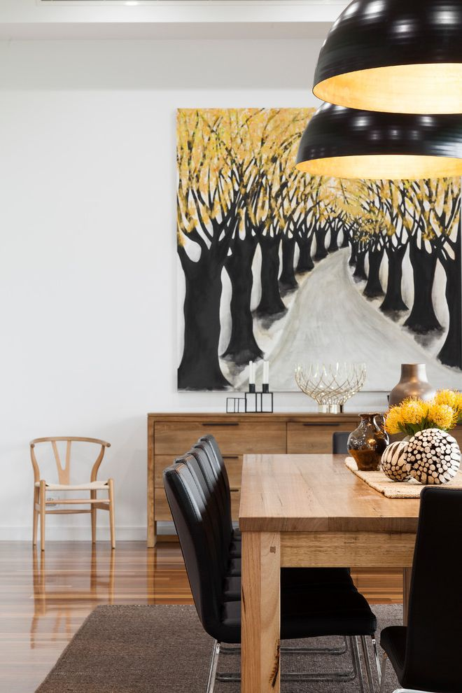 How to Bid a Painting Job with Contemporary Dining Room Also Area Rug Baachus Marsh Black and Yellow Black Dining Chairs Brass Contrempoary Country Design Glass Kitchen New Build Pop of Color Trees Wishbone Chair Yellow