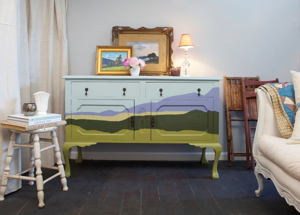 How to Bid a Painting Job with Eclectic Living Room  and Antique Dresser Artwork Bespoke Dresser Blue Dresser Custom Dresser Dresser Landscape Landscape Painting Landscape Style Painted Dresser Painted Wood Floor Settee Turned Leg Stool Vintage Dresser