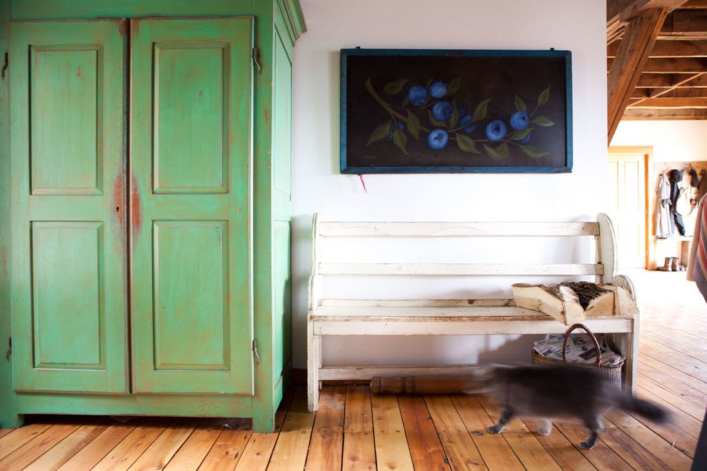 How to Bid a Painting Job with Shabby Chic Style Entry  and Basket Blueberry Painting Cat Colorful Distressed Paint Exposed Joists Green Armoire Rustic White Bench Seat Wood Floor