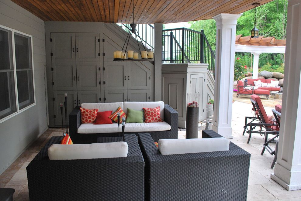 How to Build a Composite Deck   Contemporary Patio Also Black Couch Candle Chandelier Cedar Tongue and Groove Ceiling Colorful Pillows Dried in Deck Grey Walls Outdoor Furniture Outdoor Storage Panel Ceiling White Pillars White Pillows