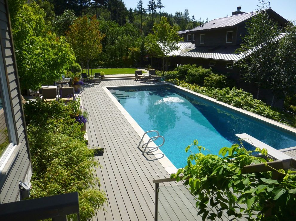 How to Build a Composite Deck   Contemporary Pool  and Backyard Deck Diving Boar Evergreens Lounge Chair Metal Roof Pool Siding