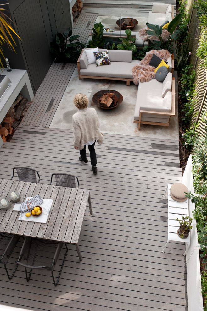 How to Build a Composite Deck   Midcentury Deck Also Box Planters Deck Fire Pit Full Length Mirror Grill Metal Chairs Modular Sofa Outdoor Furniture Panel Fence Patio Patio Furniture Sectional Sofa White Bench Wood Table