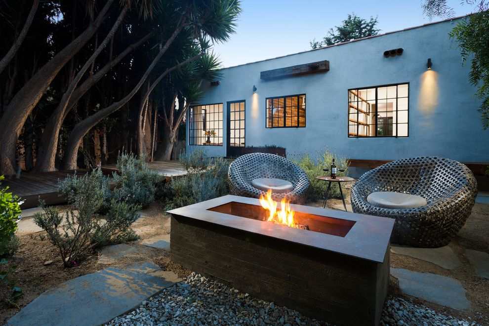 How to Build a Gas Fire Pit   Contemporary Patio Also Deck Exterior Firepit Flagstone Metal Chairs Outdoor Living Plants Side Table