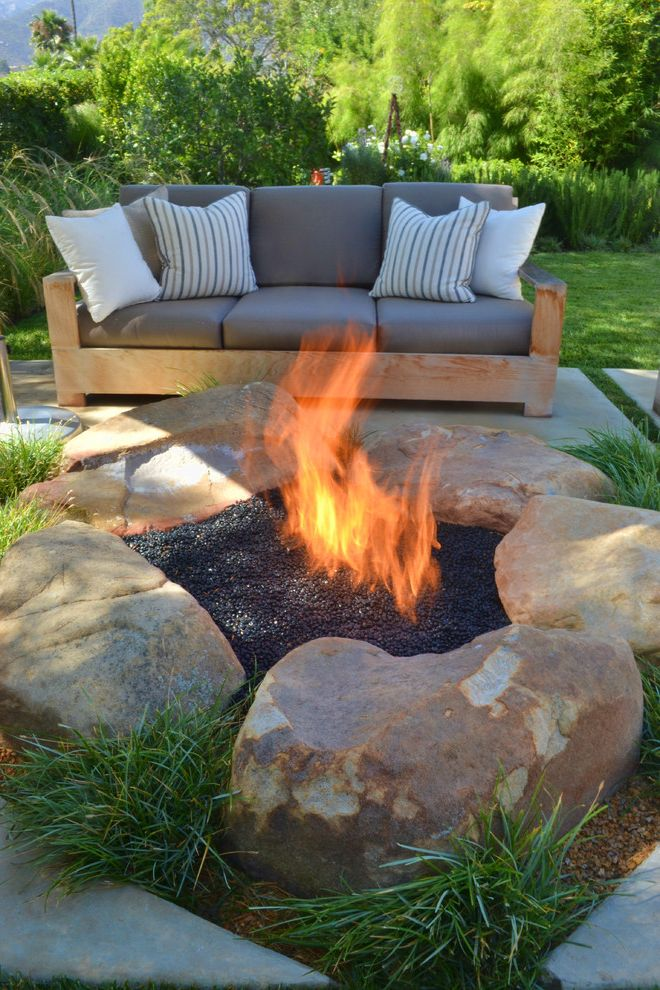 How to Build a Gas Fire Pit   Contemporary Patio  and Backyard Fire Pit Fire Ring Grass Grasses Lawn Outdoor Cushions Patio Furniture Rocks Turf
