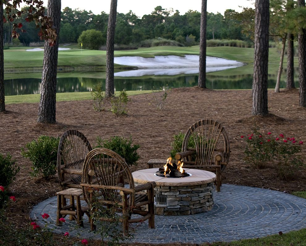 How to Build a Gas Fire Pit   Rustic Patio  and Golf Course Outdoor Fire Pit Patio Furniture Rustic Stone Paving View Waterfront Willow Furniture