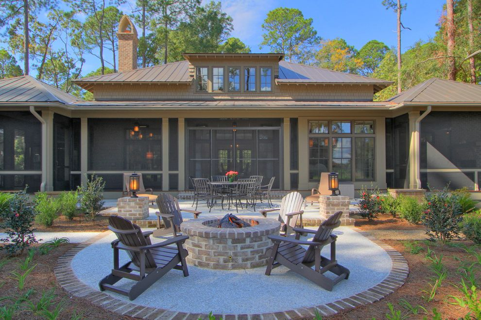 How to Build a Gas Fire Pit   Traditional Patio  and Adirondack Chairs Backyard Brick Paving Fire Pit Lanterns Metal Roof Outdoor Dining Patio Furniture Screened Porch Shed Dormers