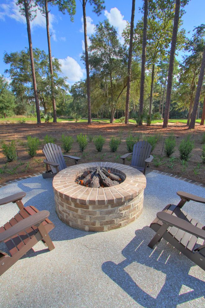 How to Build a Gas Fire Pit with Traditional Patio  and Adirondack Chairs Brick Paving Fire Pit Hedge Patio Furniture Paved Patio