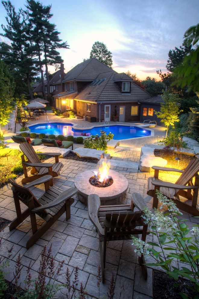 How to Build a Gas Fire Pit with Transitional Patio  and Adirondack Chairs Back Yard Bark Mulch Dormer Firepit Gas Fire Pit Hip Roof Landscape Landscape Lighting Large Patio Patio Pavers Pavers Pool