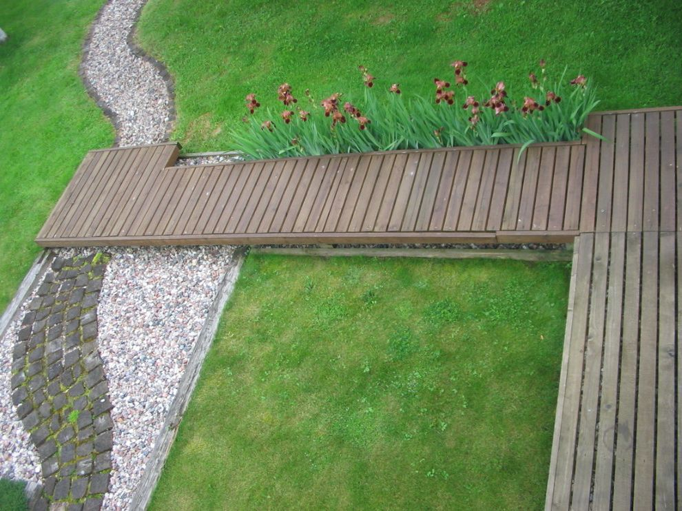 How to Build a Wheelchair Ramp with Contemporary Landscape Also Boardwalk Deck Grass Gravel Groundcover Iris Lawn Path Pattern Paver Planter Stone Turf Walkway Wooden Flooring
