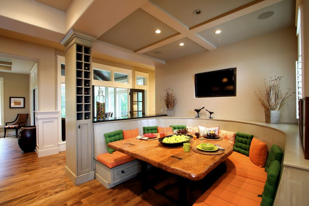 How to Build a Wine Rack in a Cabinet with Traditional Dining Room Also Banquette Seating Blinds Coffered Ceiling Green Orange Seat Cushions White Painted Wood Wine Storage Wood Slab Table