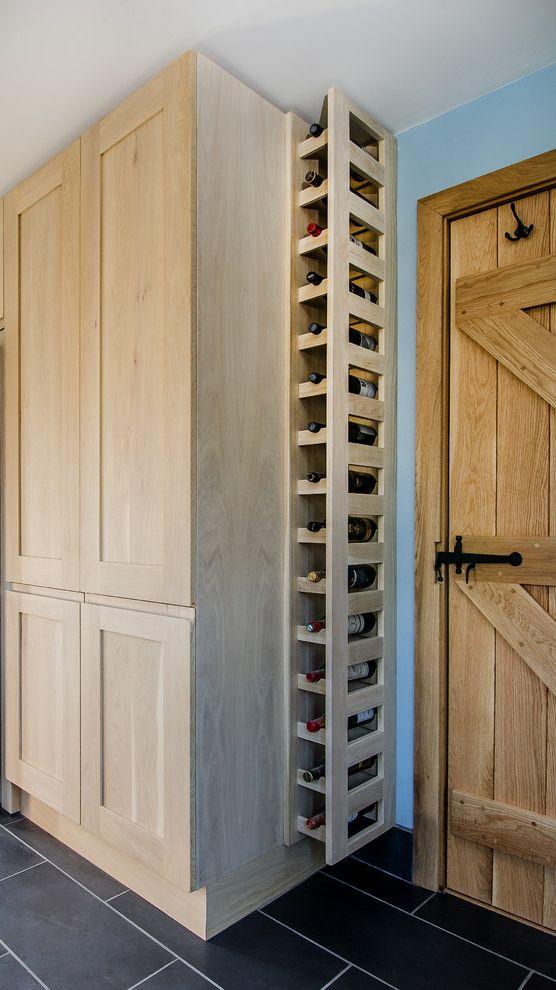 How to Build a Wine Rack in a Cabinet with Transitional Kitchen Also Bar Wood Door Barn Door Black Floor Blue Walls Grey Floor Tiles Open Wine Rack Wine Rack Wine Storage Wooden Cabinets Wooden Wine Rack