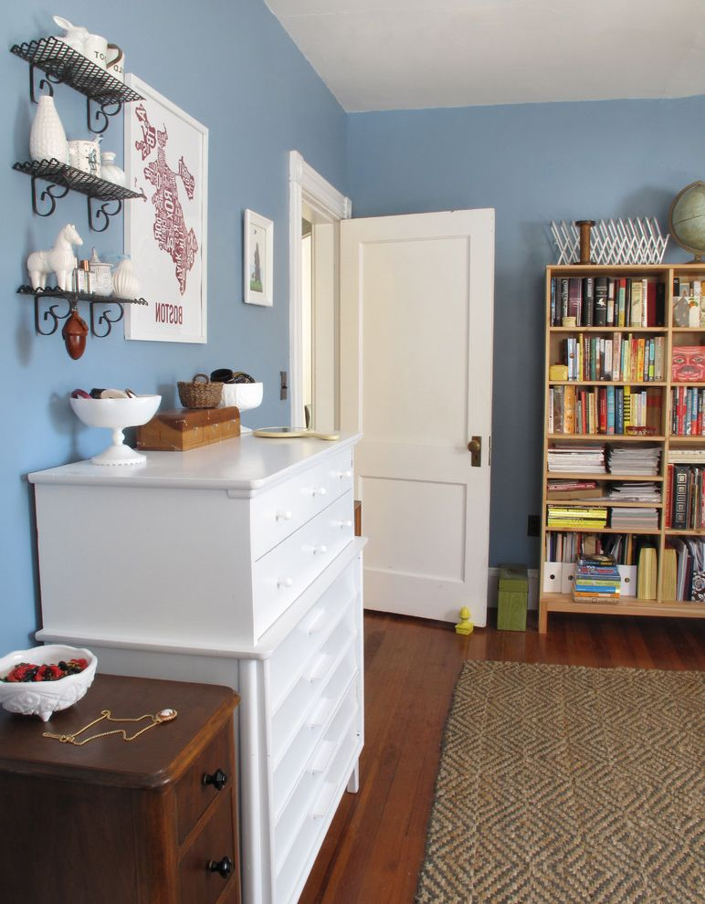 How to Change a Door Knob   Eclectic Bedroom Also Area Rug Blue Blue Walls Bookcase Chest of Drawers Dresser Grass Rug Painted Dresser Wall Art Wall Decor Wall Shelves White Wood Flooring