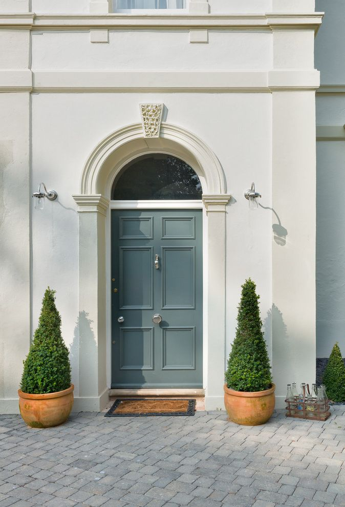 How to Change a Door Knob with Transitional Entry  and Front Door Open Plan Pilasters Remodelled Rennovated Topiaries Transom Window Victorian