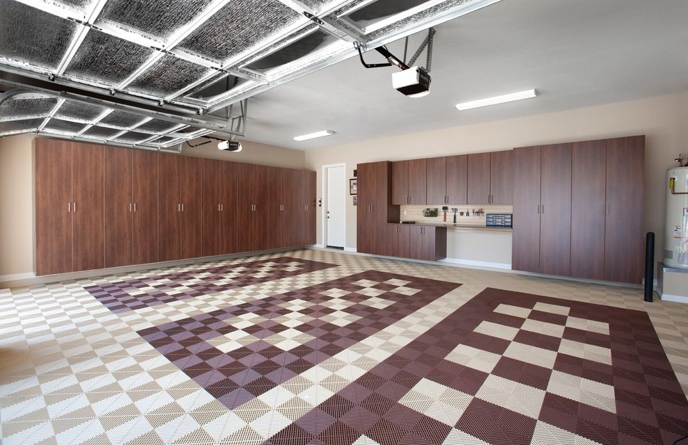 How to Clean a Garage with Contemporary Garage and Beige Walls Checkered Flooring Garage Garage Cabinets Garage Flooring Garage Organizers Tool Hangers Tool Organization Tools Work Station