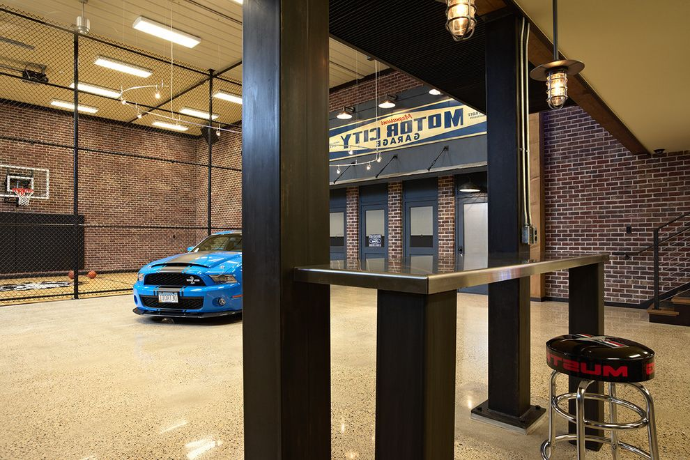 How to Clean a Garage with Eclectic Garage and Aggregate Floor Bar Stool Basketball Court Brick Car Dark Stained Wood Indoor Mustang Garage Pendant Lights Polished Stainless Steel Counter