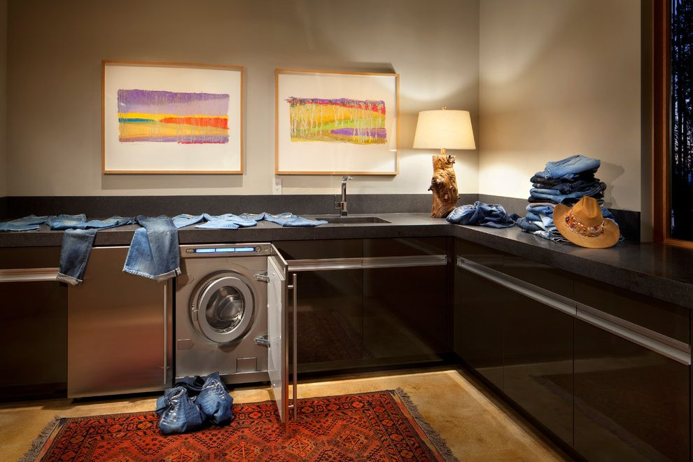 How to Clean Front Load Washer   Contemporary Laundry Room  and Black Cabinets Bright Wall Art Clean Lines Contemporary Art Edge Pulls Floor Tile Minimalist Mountain Contemporary Sophisticated Design