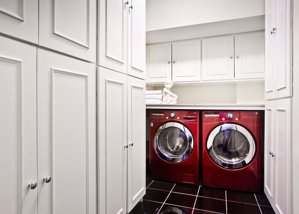 How to Clean Front Load Washer with Contemporary Laundry Room  and Black Tile Chrome Knobs Red Washer Dryer Storage White Cabinet Doors White Grout