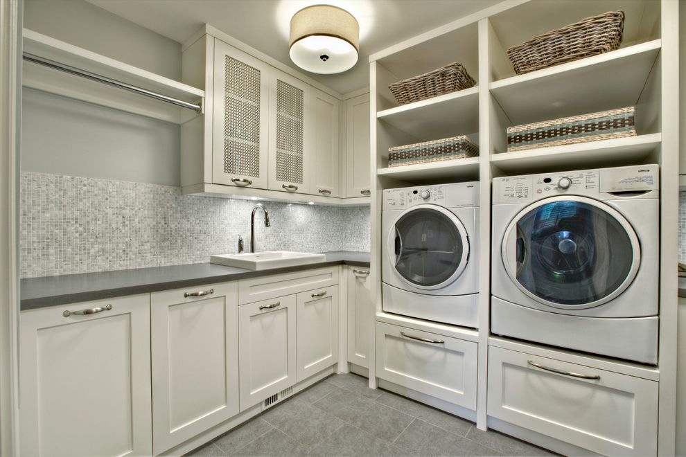 How to Clean Front Load Washer with Transitional Laundry Room  and Built in Front Loading Washer Dryer Gray Room Mosaic Tile Backsplash Open Shelves Sink Tile Floor White Cabinets