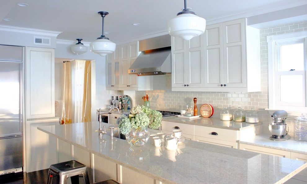 How to Clean Granite Counters with Traditional Kitchen Also Barstools Glass Canister Kitchenaid Mixer Marais Stools Pendant Lights Schoolhouse Stainless Steel Appliances Subway Tile White Cabinets
