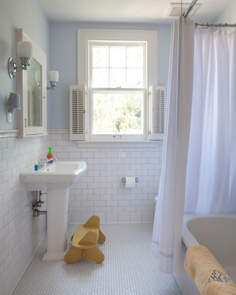 How to Clean Grout on Tile Floors   Traditional Bathroom  and Blue Cottage Medicine Cabinet Modern Penny Tile Shutters Stool Subway Tile Tiled Floor Tiled Wall White Tile