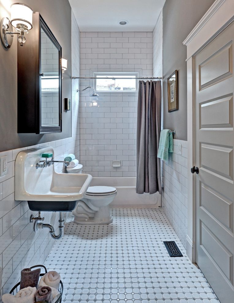 How to Clean Grout on Tile Floors with Traditional Bathroom  and Beige Wall Subway Tile Towel Storage Wall Sconce White Bathroom White Bathroom Floor White Door White Tile Shower White Tile Wall