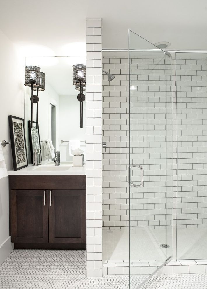 How To Clean Grout On Tile Floors With Transitional Bathroom And