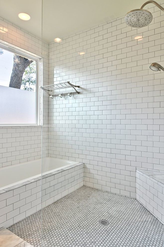 How to Clean Grout on Tile Floors with Transitional Bathroom  and Corner Bench Seat Glass Shower Panel Hexagon Tile Floor Large Window Marble Tub Deck Rain Showerhead Subway Tile Train Towel Rack Wetroom White Tile Wall