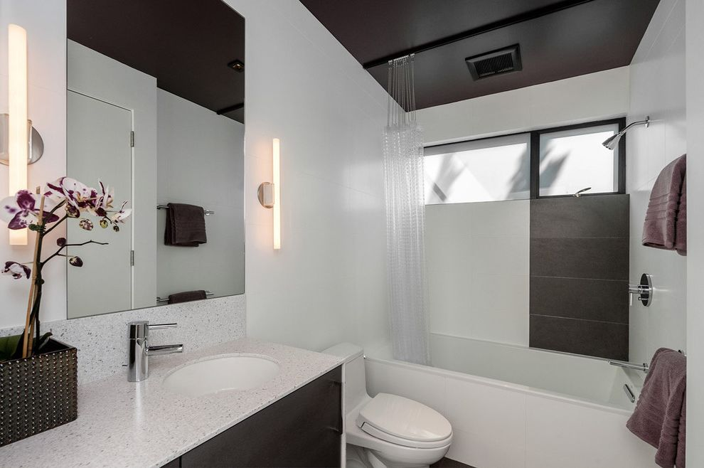 How to Clean Shower Curtain   Modern Bathroom Also Orchid Wall Mirror Wall Sconces White Wall Windows