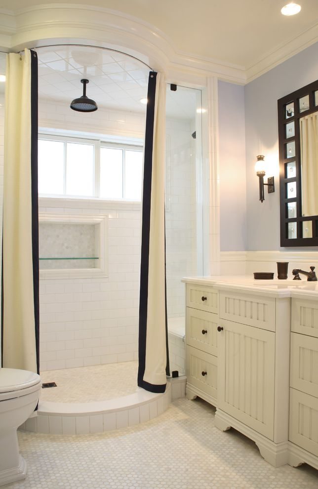 How to Clean Shower Curtain   Traditional Bathroom  and Bathroom Mirror Black and White Shower Curtain Inset Shower Shelf Light Blue Wall Niche Rain Showerhead Shower Bench Tile Floor White Cabinets White Moulding White Subway Tile Shower Wall