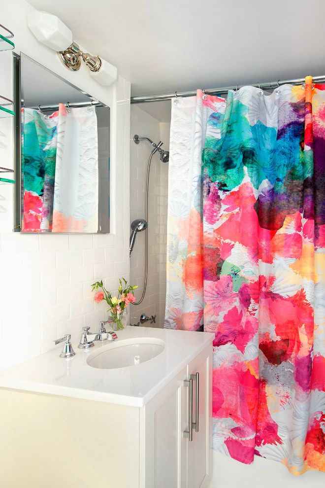 How to Clean Shower Curtain with Contemporary Bathroom  and Bar Pull Bright Shower Curtain Colorful Shower Curtain One Sink Single Sink