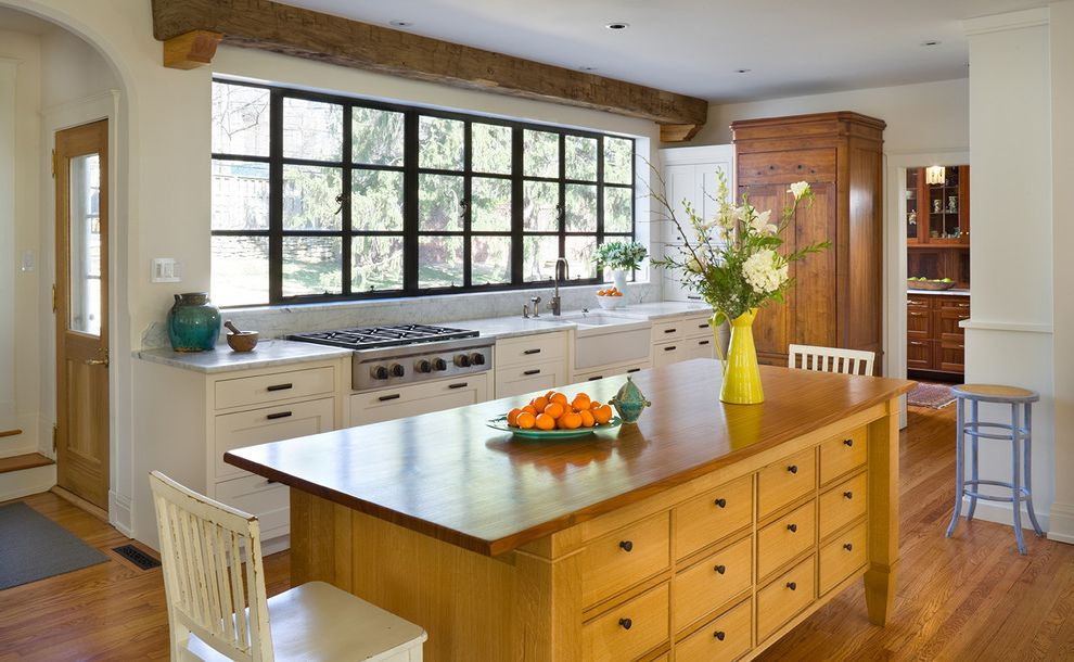 How to Clean Stove Top Grates   Traditional Kitchen  and Kitchen Island Kitchen Window Large Window Mixed Woods Natural Materials Rough Hewn Salvaged Wood Steel Casement Tudor Kitchen Walnut Beams Wood Beam Wood Cabinets