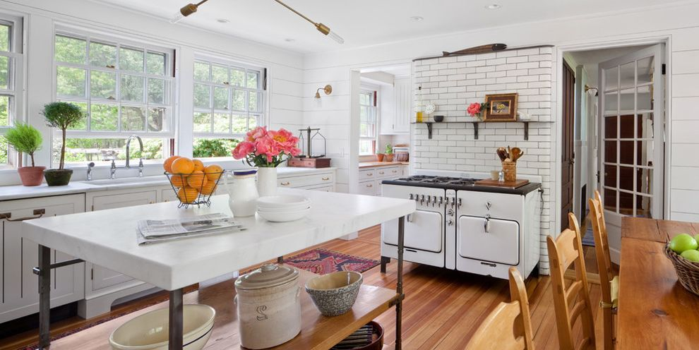 How to Clean Stove Top Grates with Farmhouse Kitchen  and Natural Lighting Open Kitchen Island Open Shelf Shiplap Vintage Stove White Kitchen Woven Rug