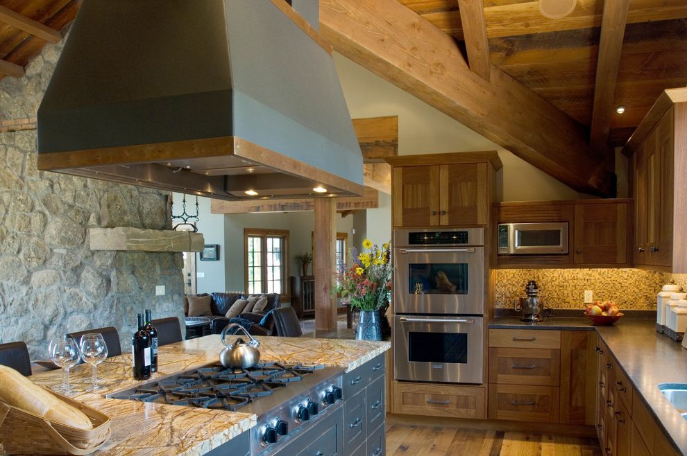 How to Clean Stove Top Grates with Rustic Kitchen  and Ceiling Coffered Heavy Hood Island Mediterranean Modern Natural Light Open Concept Rustic Seating Stainless Steel Timber Tuscan Vaulted Wood Floor