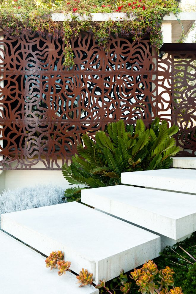 How to Cut Sheet Metal   Contemporary Landscape  and Brown Divider Brown Patterned Divider Brown Privacy Screen Bushes Concrete Pathway Concrete Slab Stairs Concrete Slab Steps Concrete Walkway Outdoor Privacy Screen Shrubs