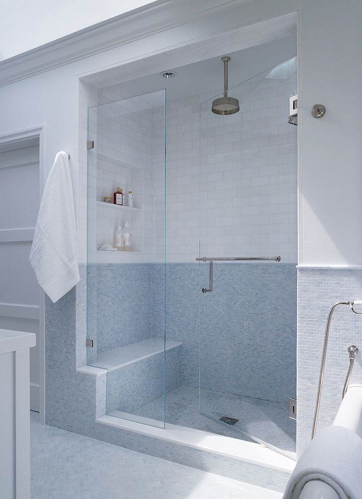How to Find Square Feet with Transitional Bathroom  and Blue Mosaic Tile Blue Mosaic Tile Wall Glass Partition Glass Shower Door Rain Shower Rain Showerhead Shower Bench Shower Ledge Towel Hook Towel Rack White Door White Subway Tile