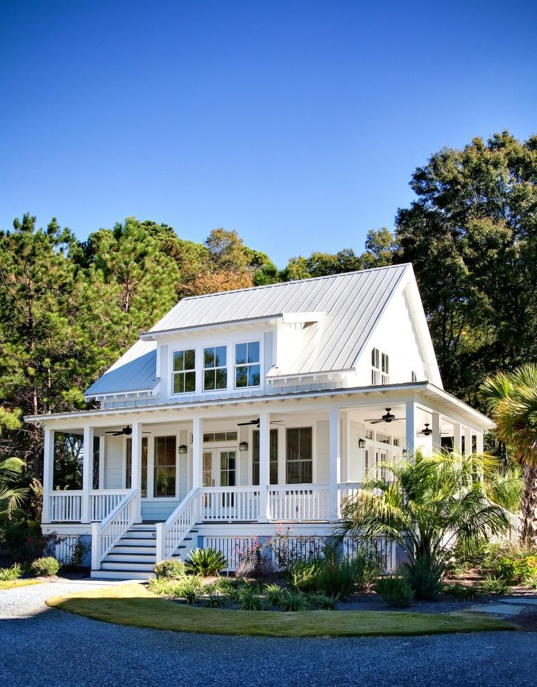 How to Find Square Footage   Traditional Exterior  and Ceiling Fans Circular Drive Dormer Gravel Driveway Guest Cottage Metal Roof Porch Staircase Tropical Plants White Trim Wood Railing Wrap Around Porch