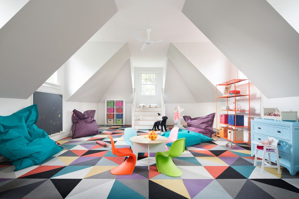 How to Get Playdough Out of Carpet   Contemporary Kids Also Bean Bags Blackboard Blue Dresser Ceiling Fan Colorful Colorful Carpet Geometric Lots of Light Natural Light Open Orange Shelves Playroom Sloped Ceilings Storage Vaulted Ceiling White Ceiling