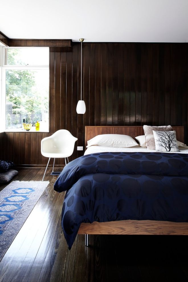 How to Get Rid of Skunk Smell in House with Midcentury Bedroom Also Aura Home Australia Eames Molded Chair Gray and White Melbourne Midcentury Modern Pendant Light Bedside Lamps Rug Runner Runner Tracie Ellis Wood Panel Wall