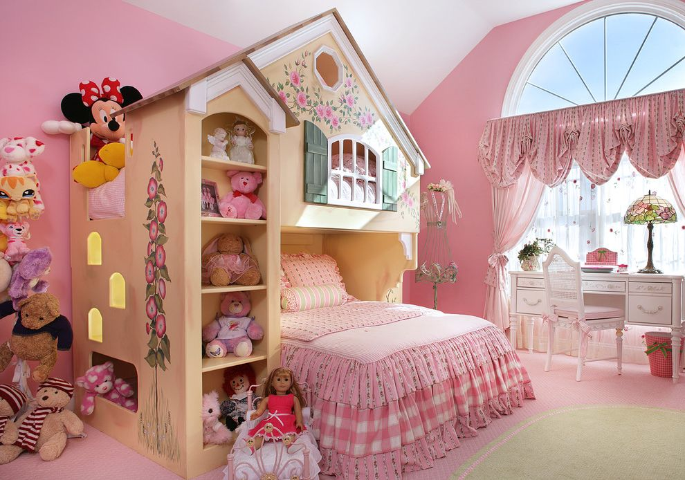 How to Get Rid of Skunk Smell in House with Traditional Kids  and Arch Window Bedroom Bedroom Desk Bunk Bed Childs Bedroom Drapes Feminine Girl Girls Room Nature Theme Pink Playhouse Bed Stained Glass Lamp Stuffed Animals