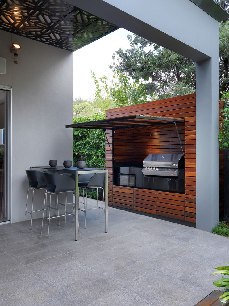 How to Get Rid of Smoke Smell in House   Contemporary Patio Also Black Barstool Concealed Grill Covered Patio Glass Door Gray Patio Grill High Top Table Ornate Ceiling Outdoor Kitchen Patio Sliding Door Wood Cooker Wall