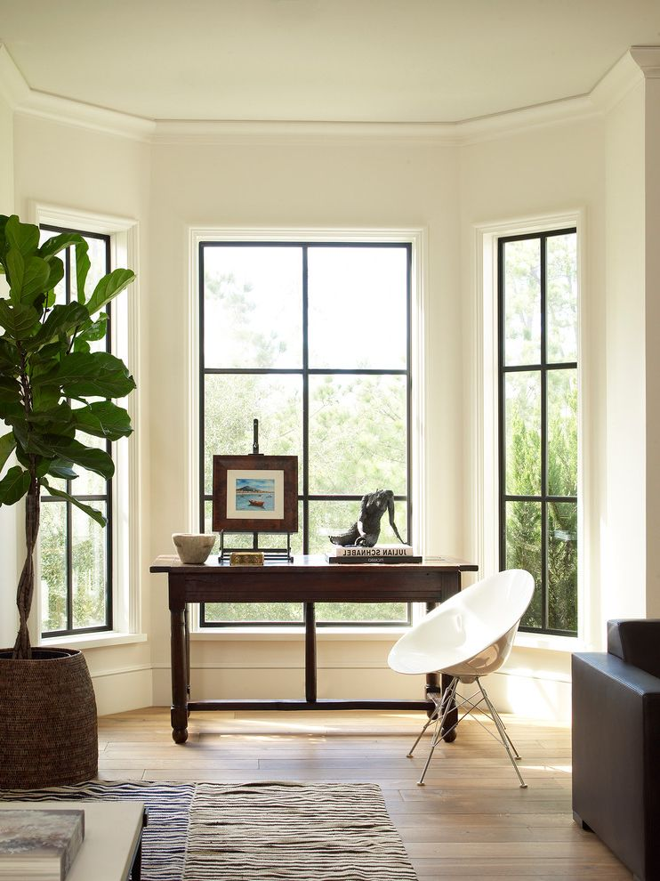 How to Get Streak Free Windows with Transitional Home Office  and Bay Window Black and White Rug Black Window Frame Fiddle Leaf Fig Kilim Rug White Chair