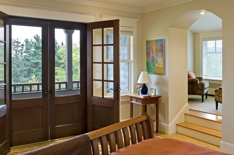 How to Install a Screen Door   Victorian Bedroom Also Arched Doorway Baseboards Crown Molding French Doors Master Bedroom Neutral Colors Porch Screen Doors Sleigh Bed Wall Art Wall Decor White Wood Wood Bed Wood Flooring Wood Trim