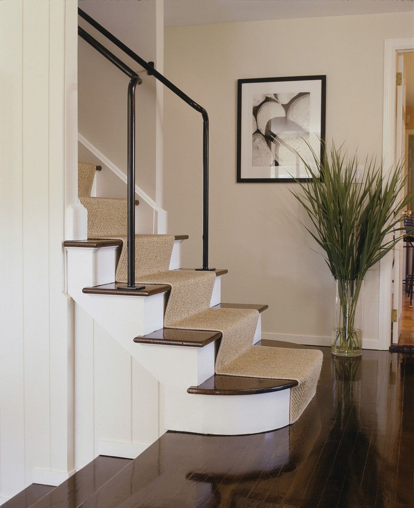 How to Install Carpet on Stairs   Contemporary Staircase  and Carpet Runner Dark Floor Grasses Metal Banister Natural Rug Photography Staircase Carpet Staircase Runner Wall Art Wall Decor White Wood Wood Flooring Wood Molding Wood Paneling