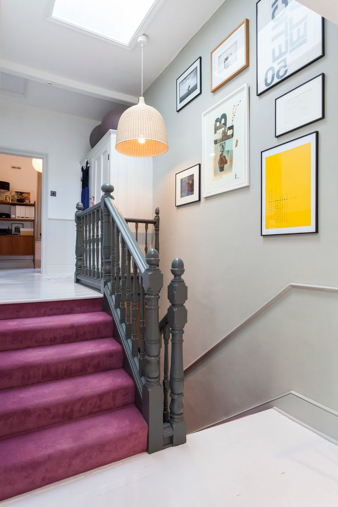 How to Install Carpet on Stairs with Scandinavian Staircase  and Art Chair Rail Framed Art Gallery Wall Gray Railing Pendant Light Pink Carpet Skylight Wall Art White Floor