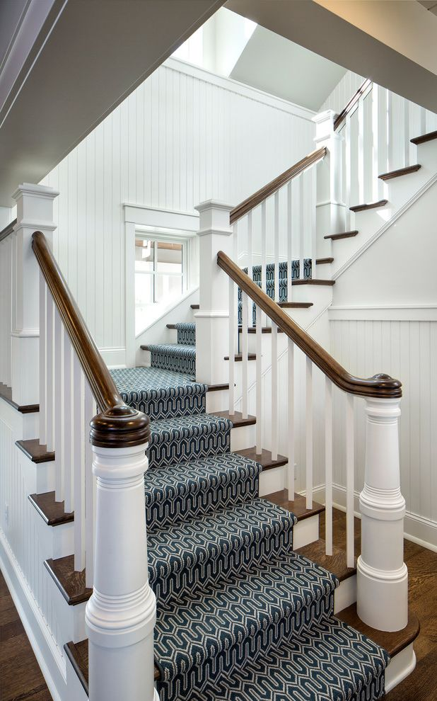 How to Install Carpet on Stairs with Traditional Staircase  and Beadboard Walls Carpet Stair Runner Clerestory Window Wainscoting Wood Handrail