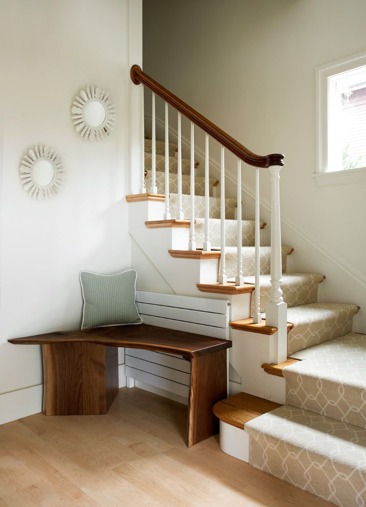 How to Install Carpet on Stairs with Transitional Staircase Also Corner Bench Open Spaces Runtal Radiator Small Newell Post Small Space Design Small Spaces Design Stair Runner