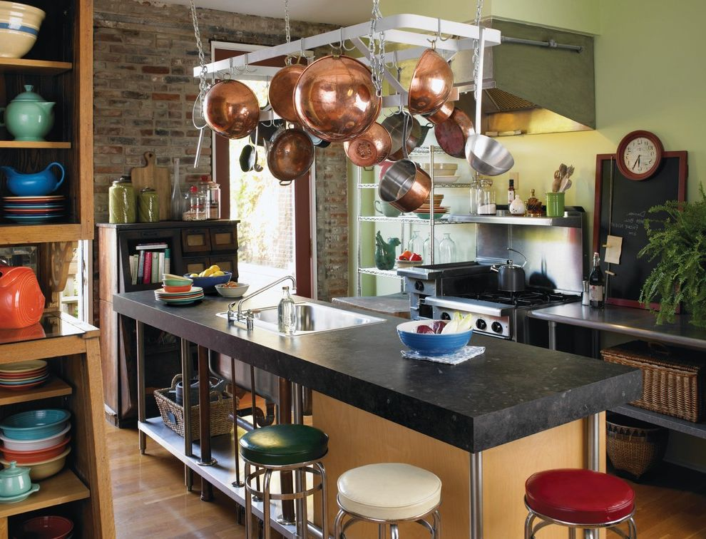 How to Install Formica with Industrial Kitchen Also Accent Wall Bakers Rack Barstools Bold Colors Breakfast Bar Brick Walls Copper Pots Eat in Kitchen Formica Countertops Green Walls Hanging Pot Racks Industrial Kitchen Island Range Hood Wood Flooring