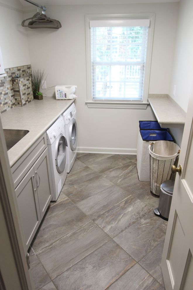 How to Install Formica with Transitional Laundry Room Also Concrete Stone Countertop Essence Tile Formica Laminate Grey Laundry Room Harbor Mist Painted Finish Medallion Moen Faucet Potter Mill Door