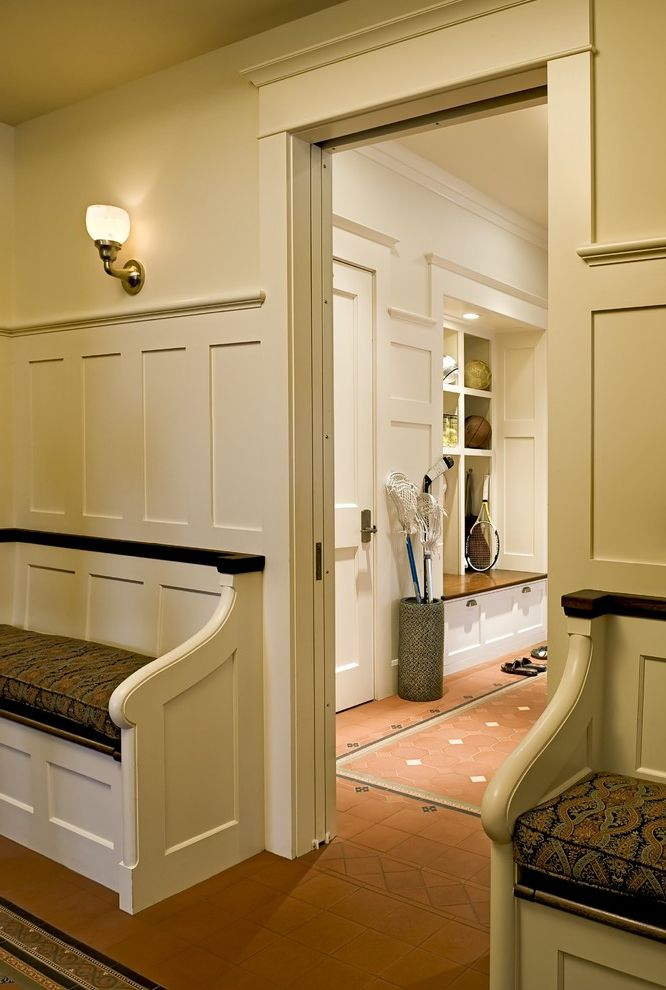 How to Install Schluter Trim with Victorian Entry Also Built in Bench Built in Shelves Cubbies Floor Tile Design Foyer Mud Room Sconce Storage Tile Flooring Wainscoting Wall Lighting White Wood Wood Trim