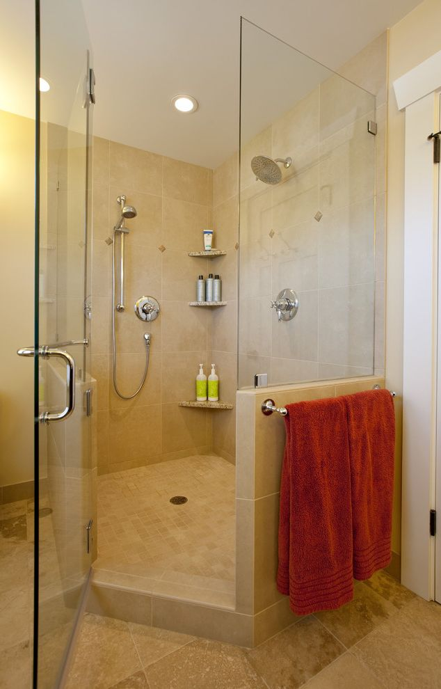 How to Install Shower Stall with Craftsman Bathroom and Glass Shower Enclosure Neutral Colors Rain Shower Head Shower Fixtures Shower Shelves Tile Flooring Towel Bar